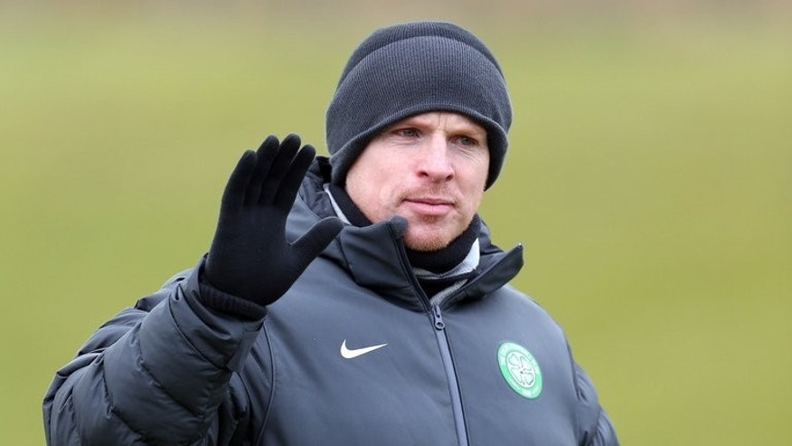 Celtic's manager Neil Lennon leads a training session at Lennoxtown Training facility, near Glasgow, Scotland, on February 11, 2013.