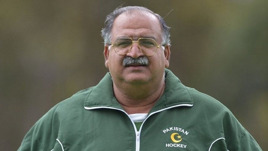Pakistan's field hockey head coach Akhtar Rasool, pictured on December 5, 2012, resigned from his post Tuesday after the national team failed to qualify for next year's World Cup.