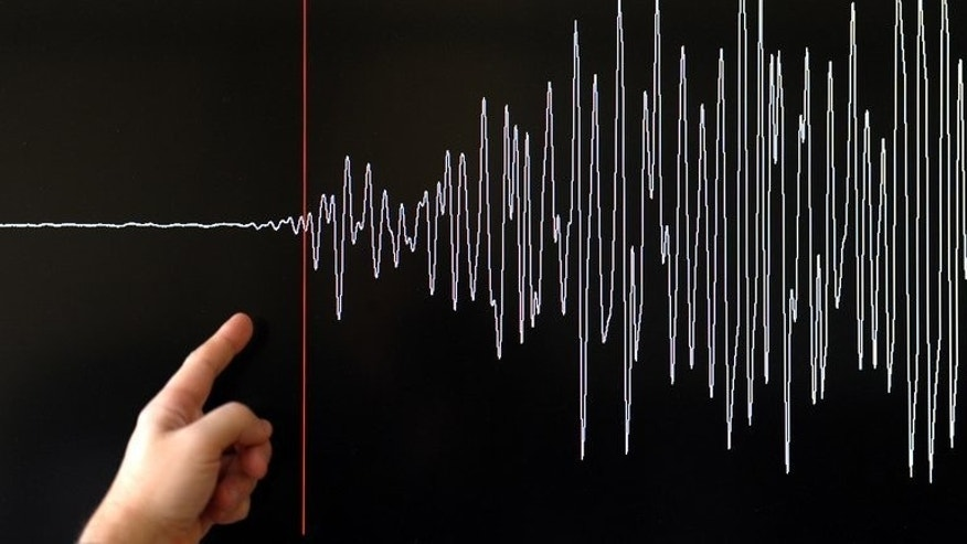 A scientist points to a seismograph at a monitoring station in Strasbourg, eastern France. A powerful 7.8-magnitude earthquake has rattled southwestern Pakistan, according to the US Geological Survey.