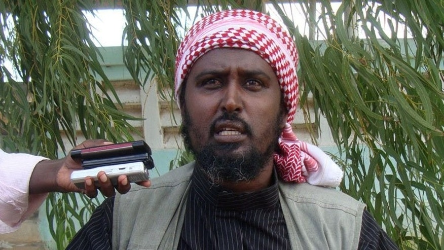 Islamist radical group Al-Shebab spokesman Ali Mohamud Rage speaks during a press conference near Afgoye in Somalia on October 17, 2011.