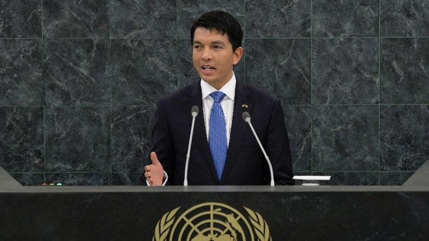 Andry Rajoelina, President of the Transition of the Republic of Madagascar, speaks at the UN General Assembly on September 25, 2013 in New York.