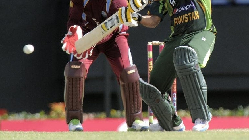 Pakistan opener Mohammad Hafeez bats in the foutth ODI West Indies v Pakistan at Beausejour Cricket Ground in Gros Islet on July 21, 2013