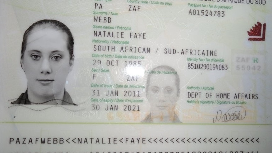 A photo of fake South African passport of Samantha Lewthwaite released by Kenyan police in December 2011.