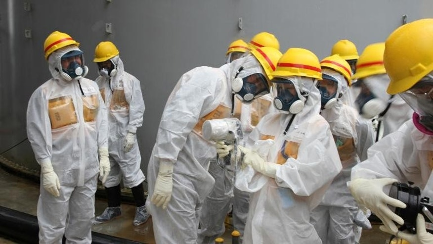Workers at Japan's crippled Fukushima nuclear plant Thursday spotted a hole in one of the barriers intended to keep radioactive particles contained in the harbour, the operator said.