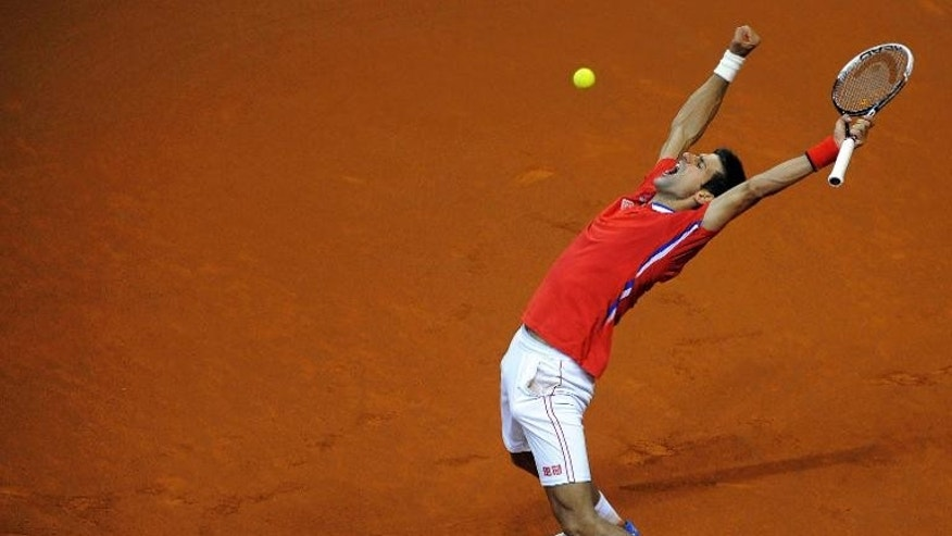 Serbia's Novak Djokovic celebrates after defeating Milos Raonic at the Davis Cup in Belgrade on September 15, 2013.