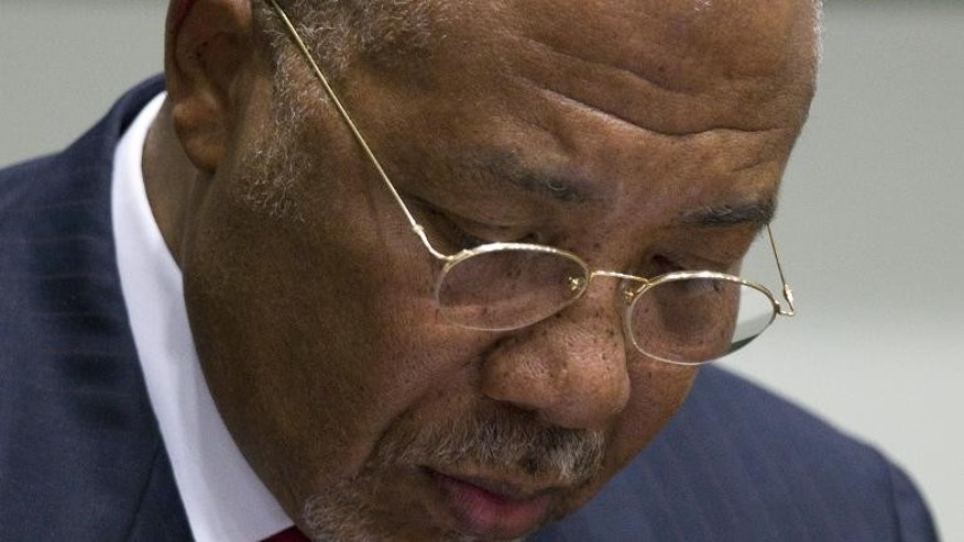 Former Liberian President Charles Taylor during his trial at the Special Court for Sierra Leone in Leidschendam, outside The Hague, on April 26, 2012