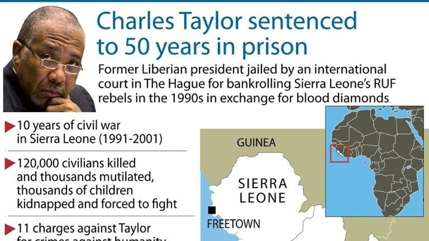Map and facts on former Liberian leader Charles Taylor, who was initially jailed in 2012 by a UN-backed court for 50 years for arming rebels during Sierra Leone's brutal 1990s civil war