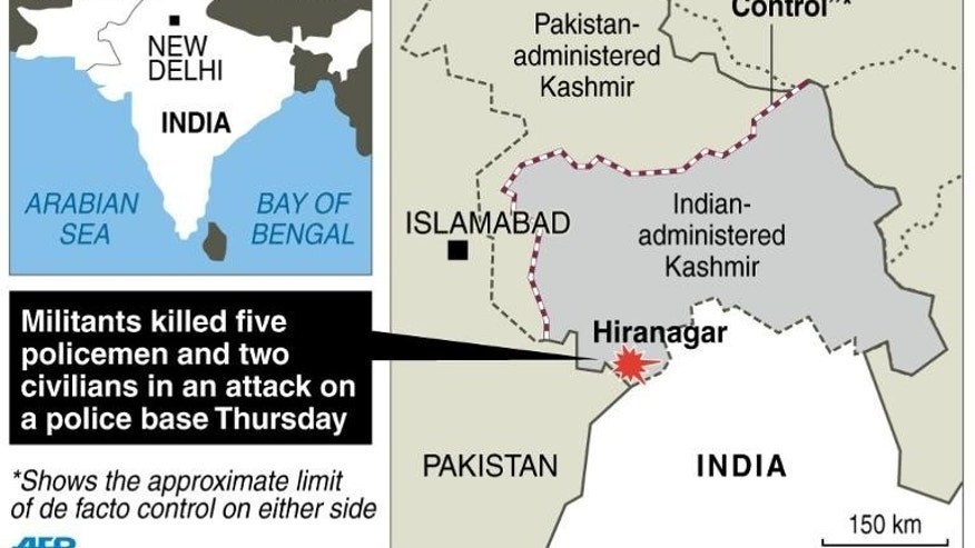 Graphic map locating Hiranagar in Indian Kashmmir, where a group of militants killed seven people in an attack on a police base Thursday, police said.