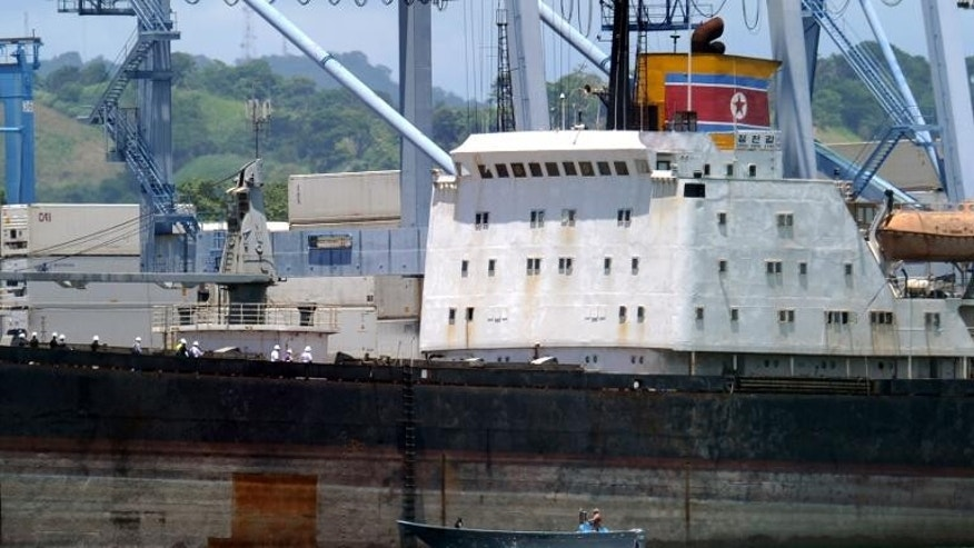 View of the North Korean vessel Chong Chon Gang, with people aboard at Manzanillo harbour in Colon, 90 km from Panama City, on August 14, 2013.