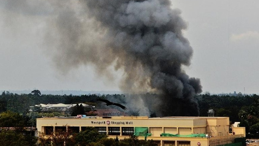 Smoke rises from the Westgate mall in Nairobi on September 23, 2013