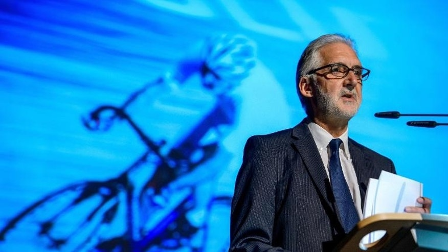 Long-time British cycling president Brian Cookson, candidate for the presidency of the International Cycling Union (UCI), makes his presentation on September 15, 2013 before European Cycling Union (UEC) delegates in Regensdorf near Zurich.