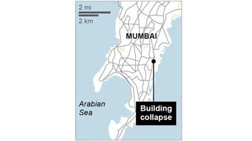 This map locates the site of a building collapse in Mumbai, India.