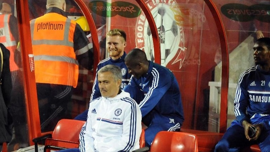 Chelsea manager Jose Mourinho at a football match against Swindon on September 24, 2013