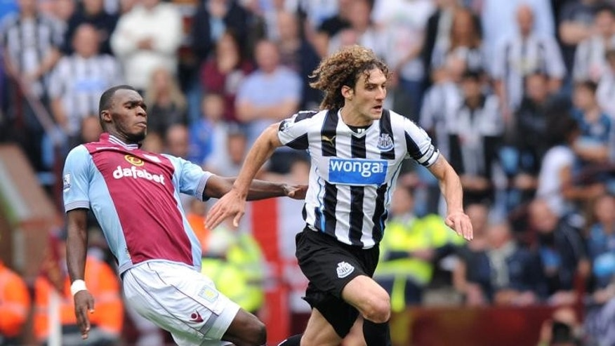 "Newcastle United??'s Fabricio Coloccini, pictured (R) during a match against Aston Villa on September 14, 2013, has come in for praise from manager Alan Pardew who called him ""very, very important, a very steady, calming influence"""