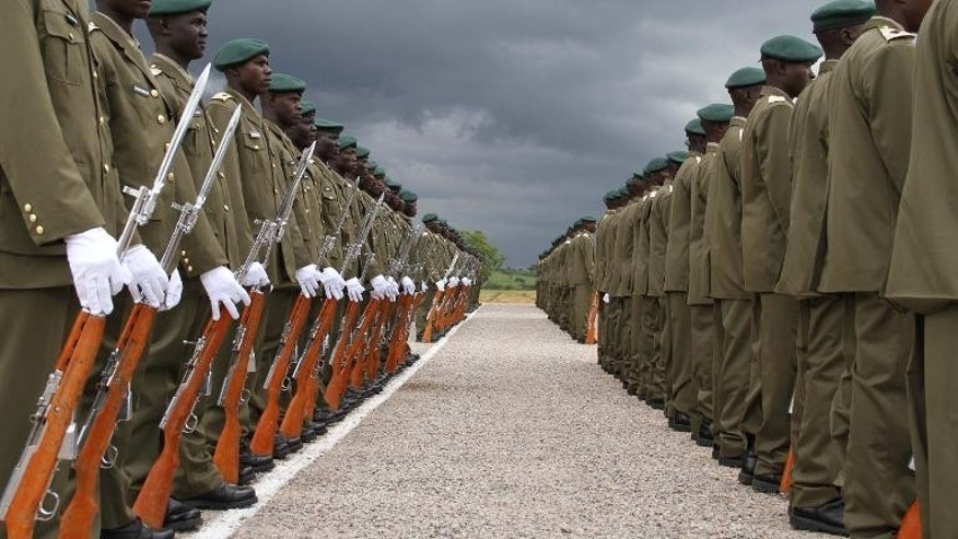 Newly decorated officer cadets at the Uganda military academy in Kabamba on September 15, 2012