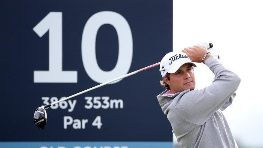 US golfer Peter Uihlein plays a shot during The Alfred Dunhill Links Championships golf competition at The Old Course at St Andrews, Fife, Scotland on September 28, 2013.
