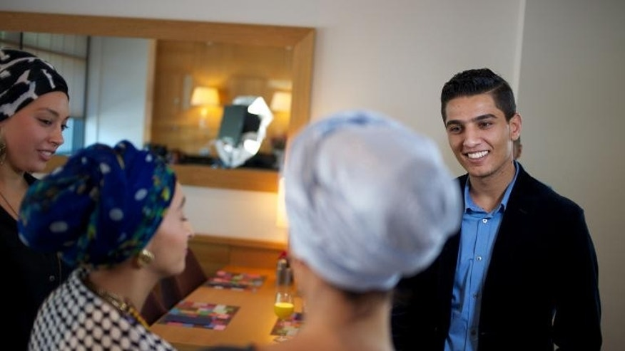 Gaza's Arab Idol winner Mohammed Assaf meets with fans and journalists before a concert in The Hague, on September 29, 2013.