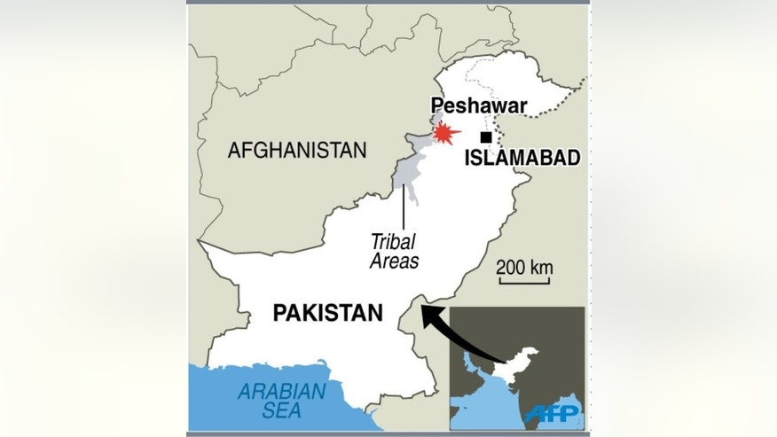 Graphic showing the location of Peshawar in Pakistan where a bomb explosion on Sunday killed at least 33 people