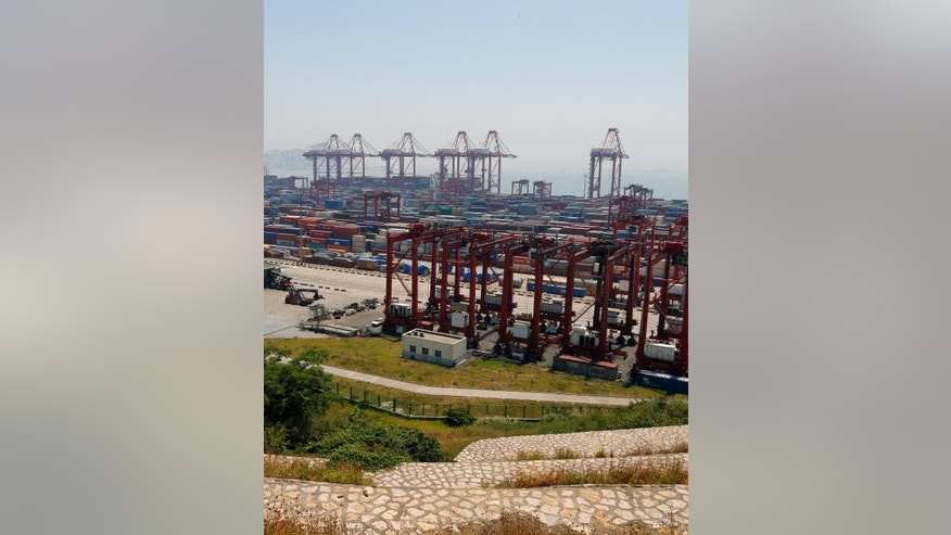 Containers in Yangshan port in Shanghai, one of the districts included in the free trade zone, pictured on July 30, 2013