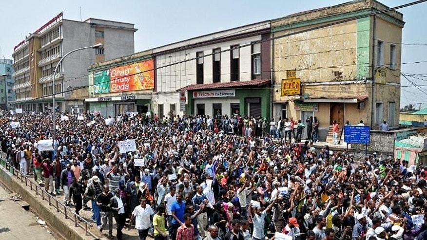 Thousands of Ethiopian opposition activists demonstrate in Addis Ababa on June 2, 2013