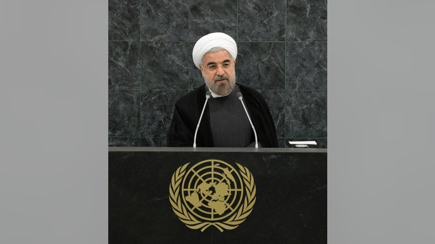 Iranian President Hassan Rouhani at UN headquarters in New York, September 26, 2013.