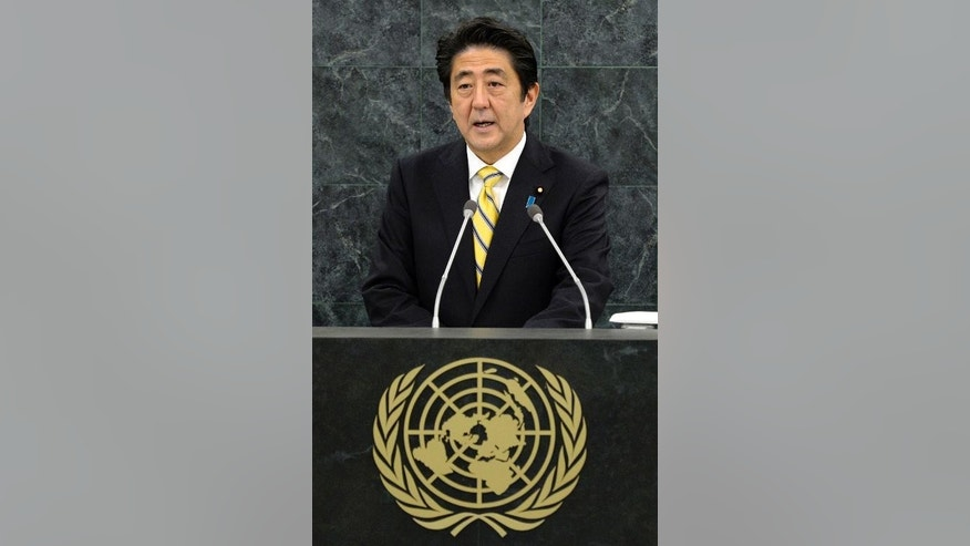 Shinzo Abe, Prime Minister of Japan at the United Nations headquarters in New York on September 26, 2013