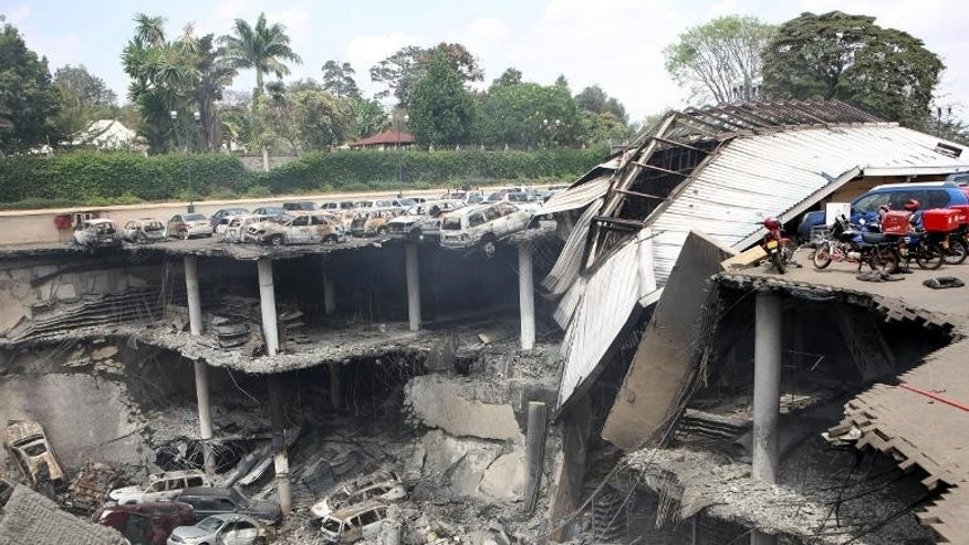 A handout picture from the Kenyan presidency shows a destroyed section of the Westgate mall in Nairobi on September 26, 2013