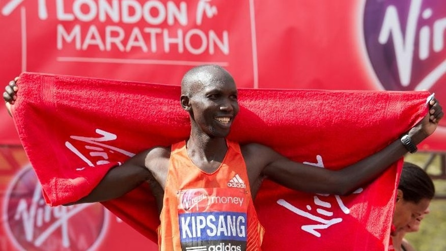 Wilson Kipsang of Kenya crosses the finish line to win the men's 2012 London Marathon on April 22