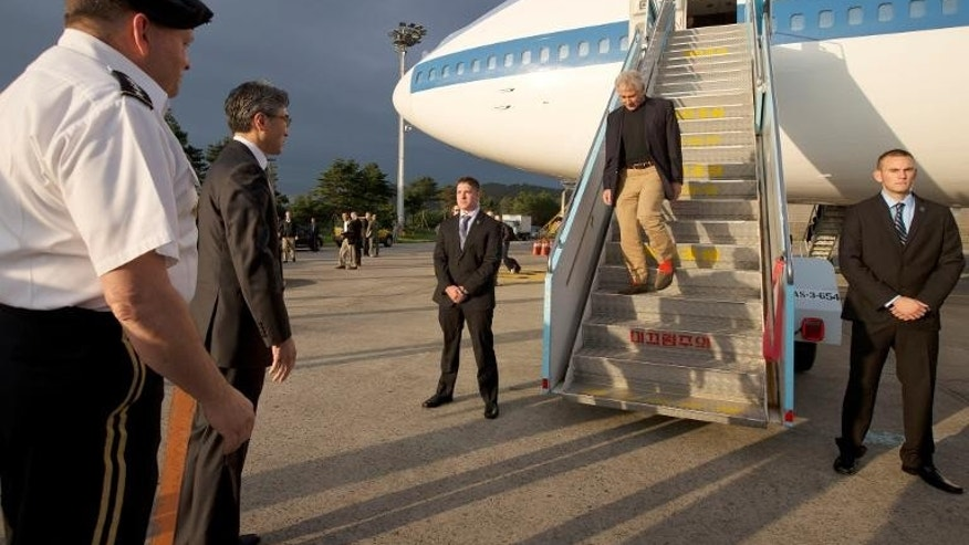 US Secretary of Defense Chuck Hagel arrives in Seoul, South Korea on September 29, 2013.