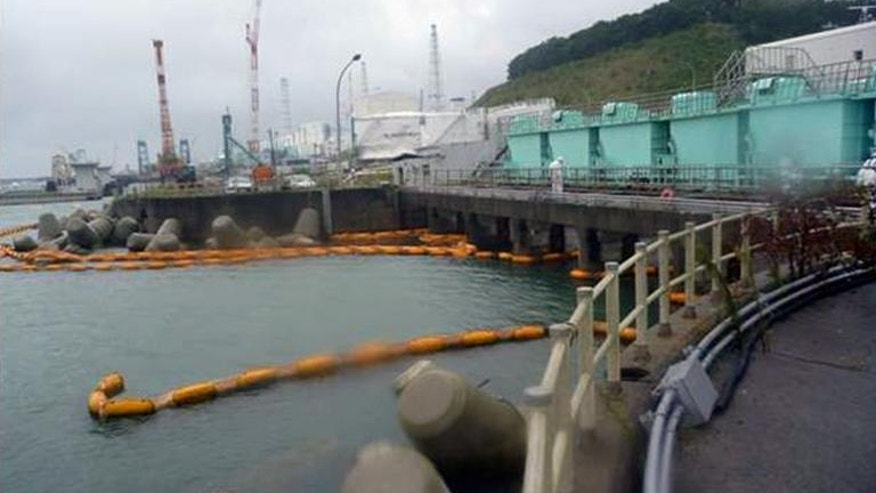 A silt fence, a device to trap sediment before water flows into the sea, at the stricken Fukushima nuclear power plant on September 26, 2013