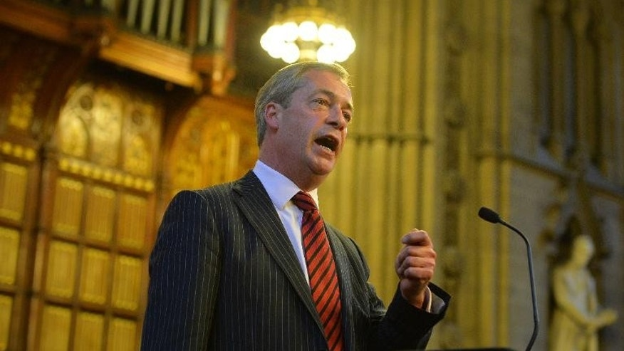 UK Independence Party (UKIP) leader Nigel Farage addresses the Bruges Group at the Manchester Town Hall in north-west England, on September 30, 2013