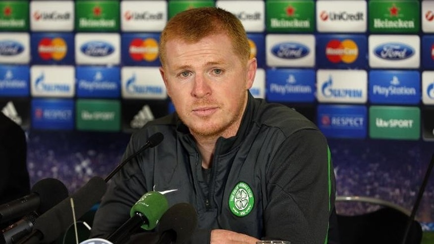 Celtic manager Neil lennon speaks at a press conference at Celtic Park, Glasgow on September 30, 2013