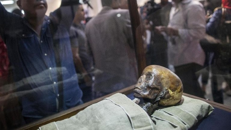 A picture taken on September 30, 2013 shows the mummy of a child called Amenhotep displayed at the Egyptian Museum in Cairo