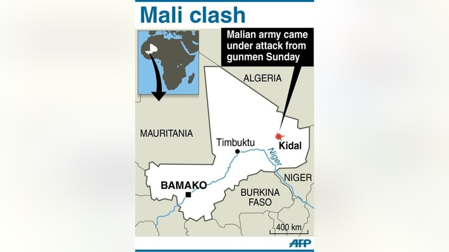 Graphic map showing Kidal in Mali on September 30, 2013