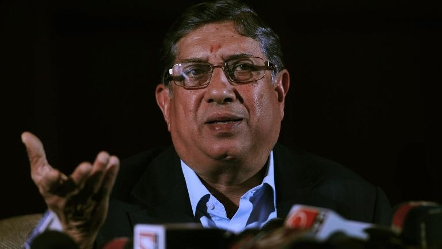 President of the Board of Control for Cricket in India (BCCI) N. Srinivasan pictured in Kolkata on May 26, 2013.