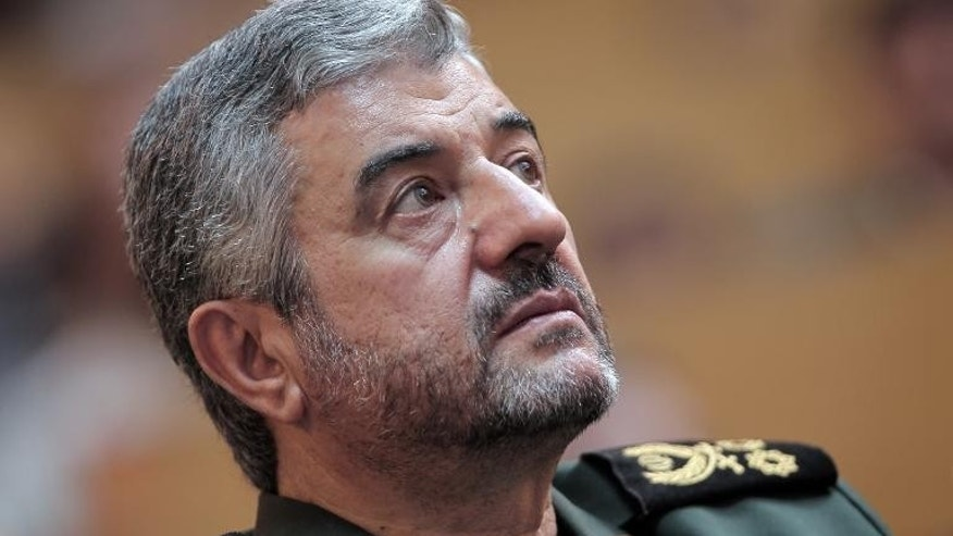 Iran's Revolutionary Guards commander General Mohammad Ali Jafari looks up during a ceremony in Tehran, on September 6, 2011