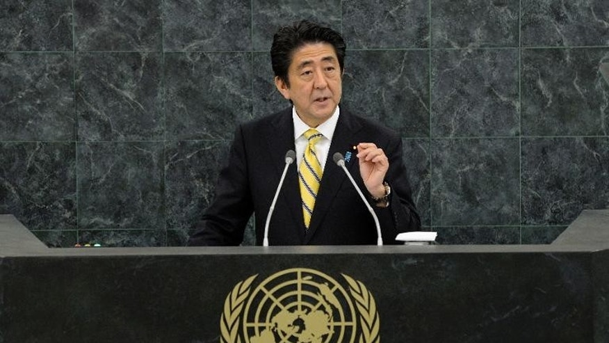 Shinzo Abe, Prime Minister of Japan speaks during the United Nations General Assembly at UN headquarters in New York, on September 26, 2013
