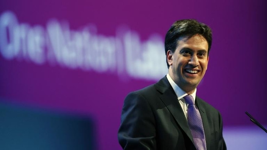 Party leader Ed Miliband attends the Labour party conference in Brighton on September 25, 2013