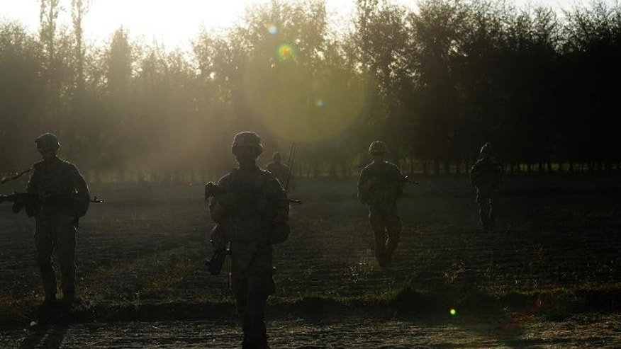 US soldiers operating under the International Security Assistance Force (ISAF) on patrol in Afghanistan's Logar Province, on October 11, 2012