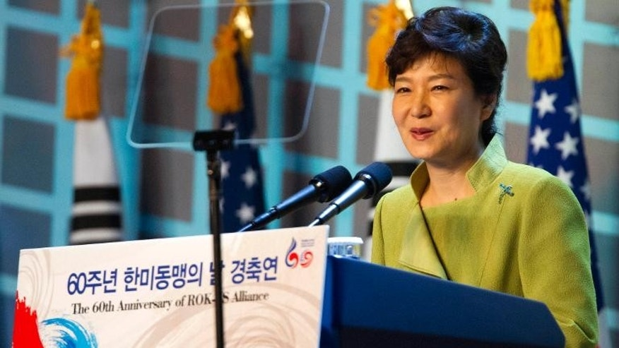 South Korea's President Park Geun-hye speaks in Seoul on September 30, 2013, at an event attended by US Secretary of Defense Chuck Hagel