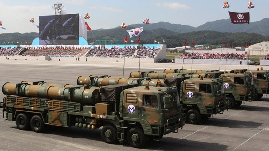 Oct. 1, 2013: South Korean Hyunmu-3 cruise missiles are displayed during a ceremony marking the 65th anniversary of Armed Forces Day at a military airport near Seoul, in Seongnam, South Korea. South Korea displayed the domestically-built missiles capable of hitting all parts of North Korea and other sophisticated weapons at the country's biggest Armed Forces Day ceremony in a decade.