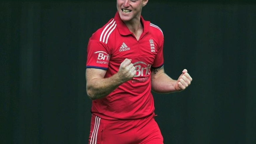 England's Ben Stokes celebrates the wicket of Australia's Matthew Wade (unseen) during the fifth one-day international against Australia at the Ageas Bowl in Southampton, England on September 16, 2013.
