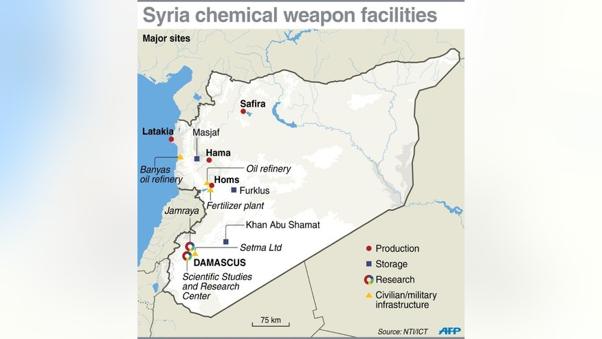 Graphic locating chemical weapons facilities in Syria
