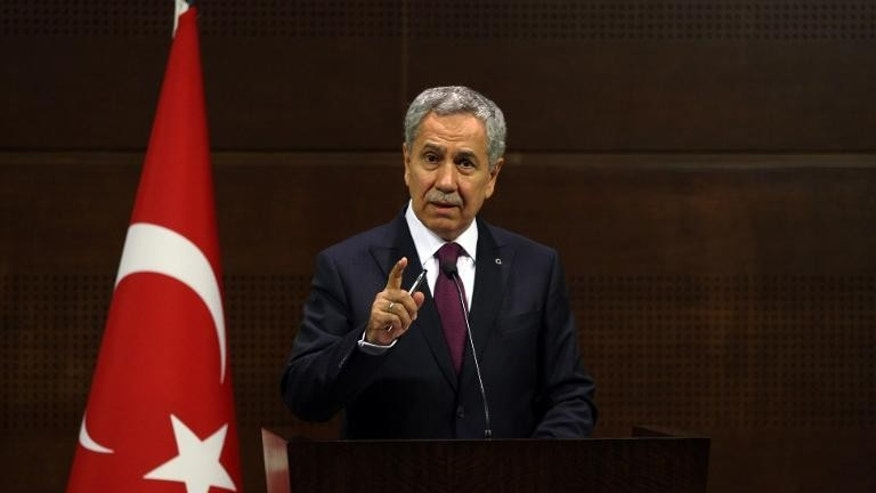 Turkish Deputy Prime Minister Bulent Arinc gives a press conference on June 4, 2013 in Ankara