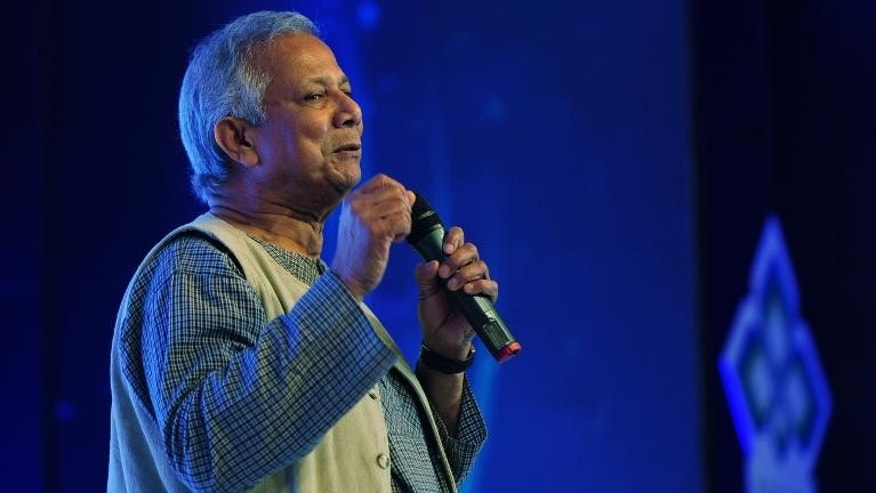 Nobel Laureate Professor Muhammad Yunus speaks during the 4th Annual Social Business Day in Dhaka on June 28, 2013