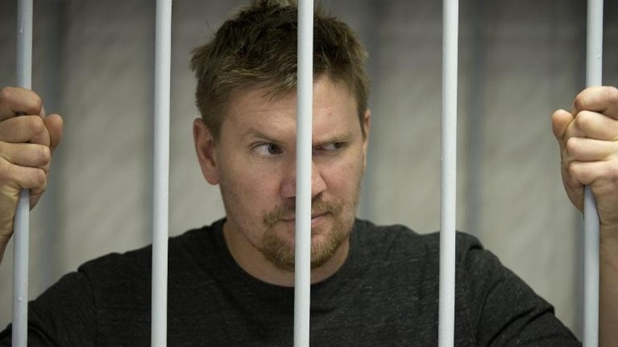 Greenpeace activist Anthony Perret from the United Kingdom at the Leninsky district Court in Murmansk, in a photo released on September 29, 2013 by Greenpeace International