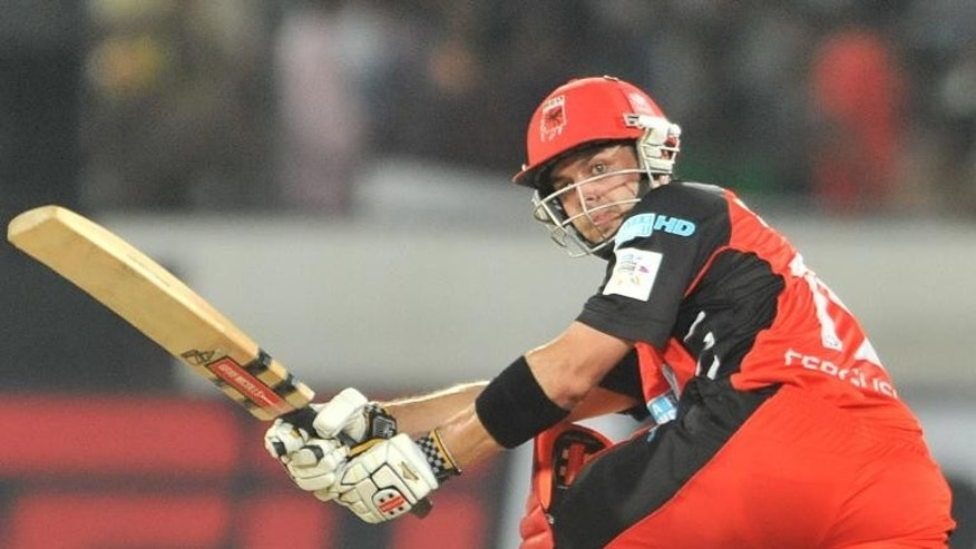 South Australia's Callum Ferguson plays a shot during the Champions League Twenty20 match in Hyderabad on September 27, 2011