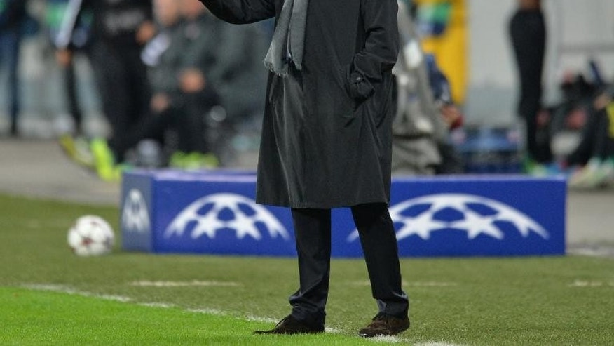 Chelsea's Portuguese manager Jose Mourinho gestures at National Arena Stadium in Bucharest, Romania on October 1, 2013
