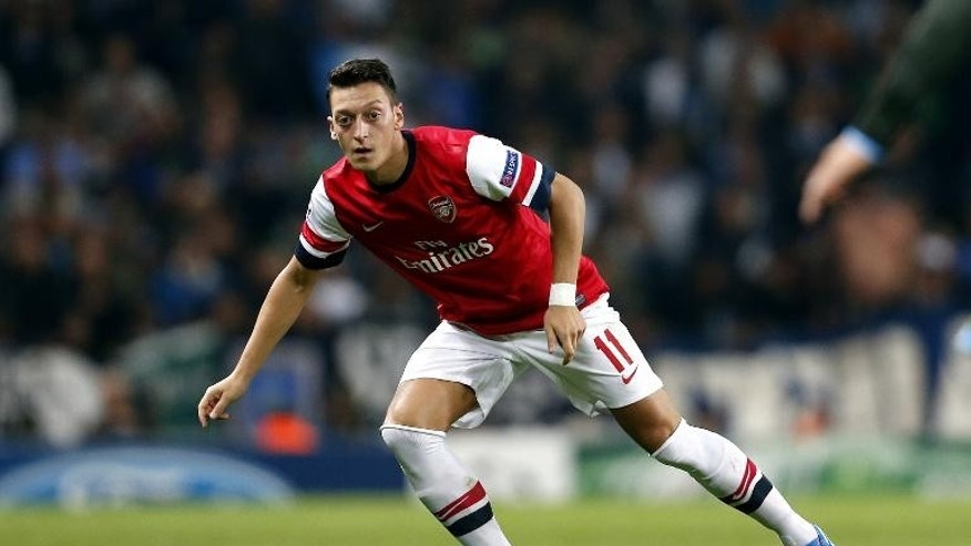 Arsenal midfielder Mesut Ozil during the Champions League match against Napoli in London on October 1, 2013