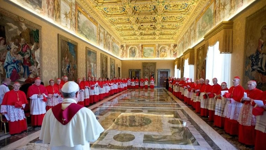 "Pope Francis meets a consistory of cardinals on September 30, 2013 at the Vatican. In an interview, Pope Francis has condemned ""leprosy"" in the Vatican and said the papacy was ""too Vatican-centric"""